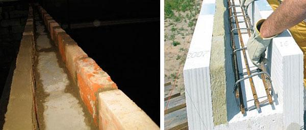 Опалубка для армопояса в кирпичной и газобетонной стене