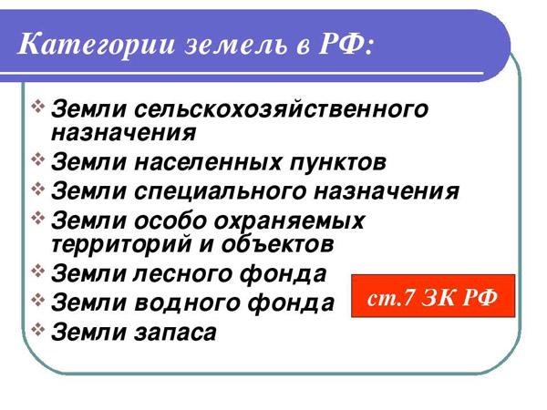 Виды земельных участков согласно РФ