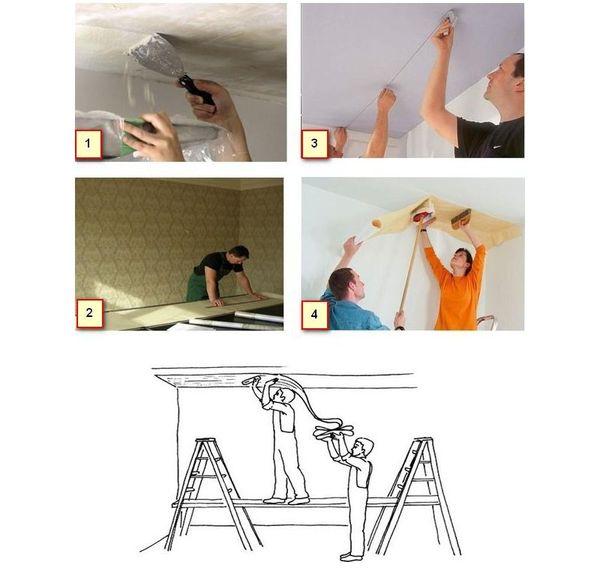 Порядок поклейки обоев на потолок