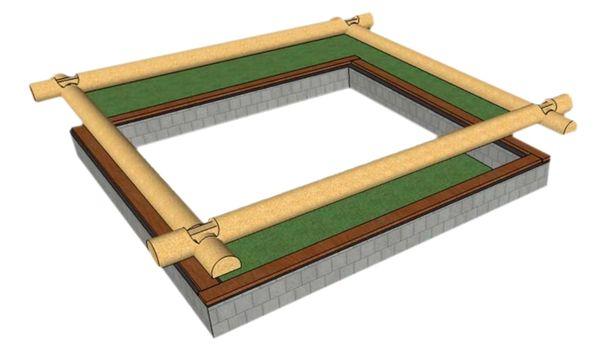 Укладка подготовленной доски на фундамент