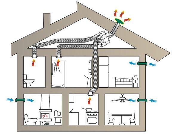 Как должна располагаться вентиляция в частном доме